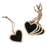 B2087 Wooden Heart with Blackboard: Pack of 5: Natural Wood